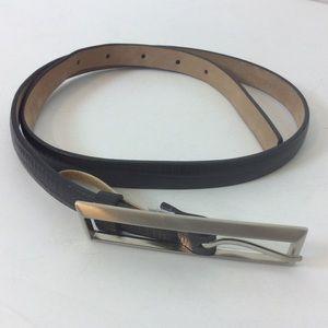 Ann Taylor Black Leather Belt Silver Tone Buckle